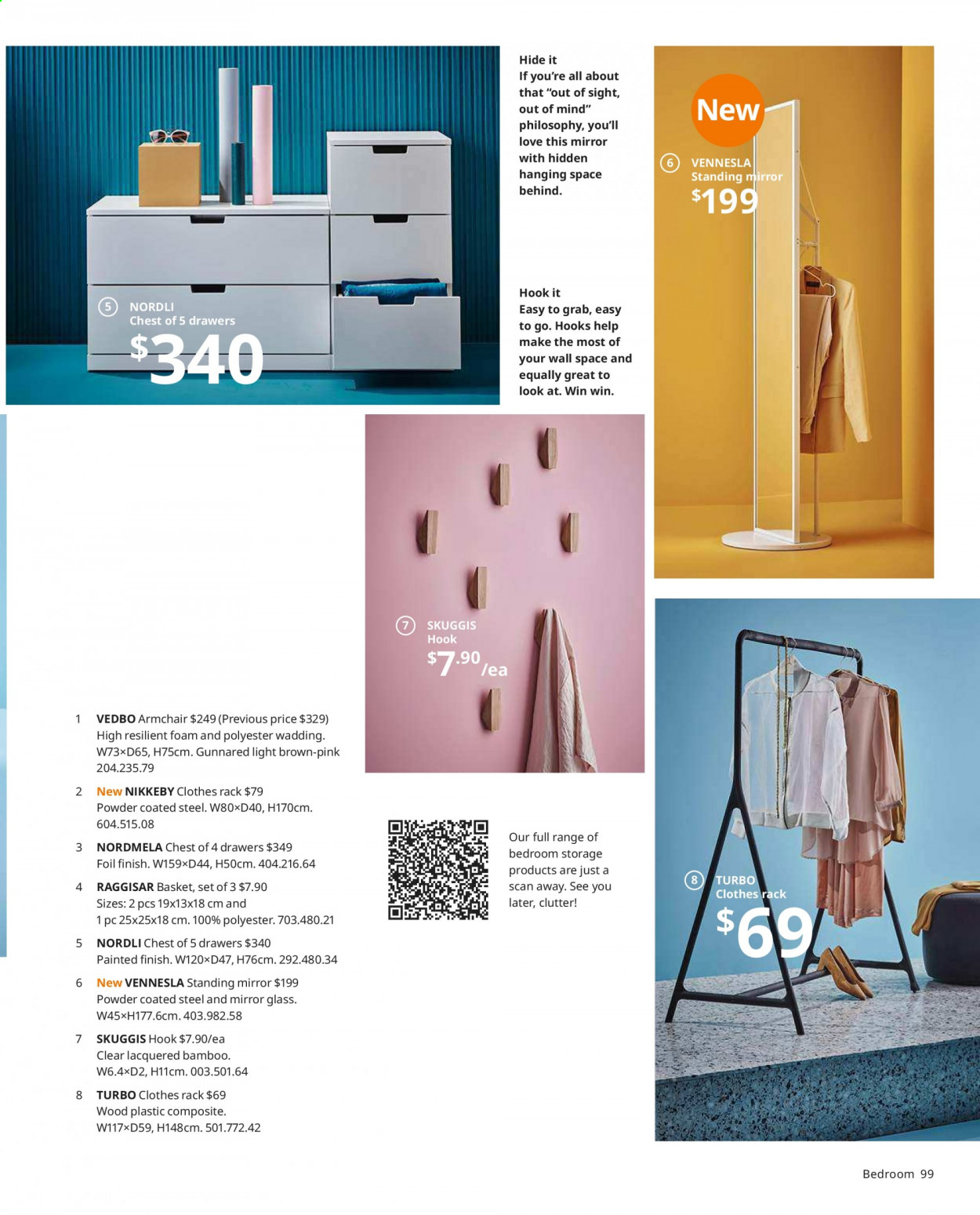 IKEA offer  - Sales products - arm chair, basket, bath towel, glass, mirror, shirt, shoes, towel, hook, chair, powder. Page 99.