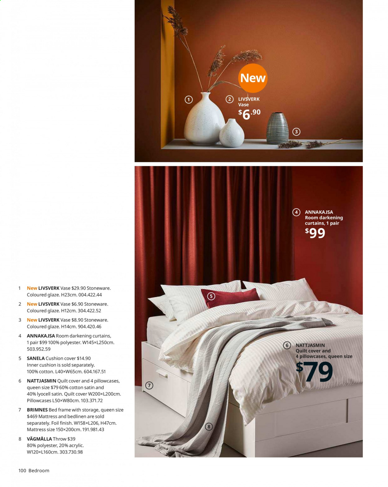 IKEA offer  - Sales products - bed, bed frame, cushion, mattress, pillowcases, quilt. Page 100.