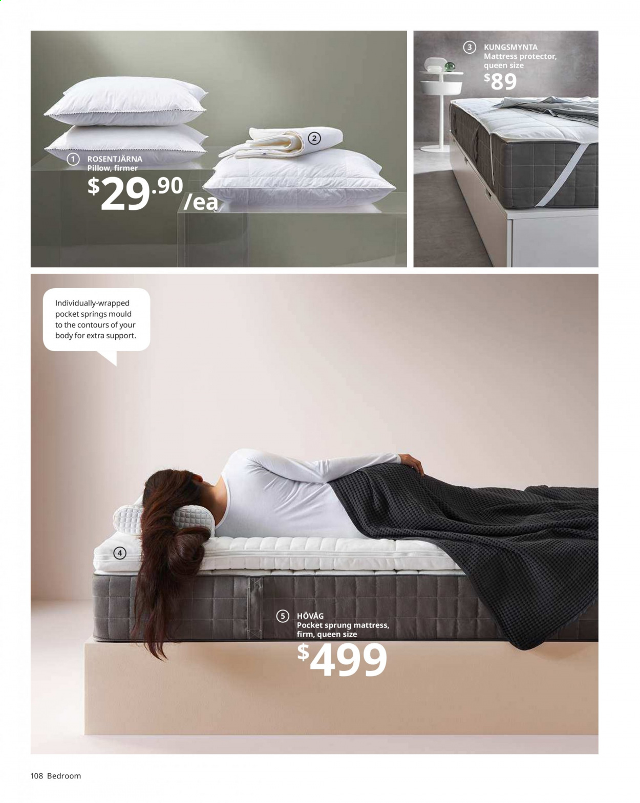 IKEA offer  - Sales products - mattress, pillow, quilt, pad, mattress protector. Page 108.