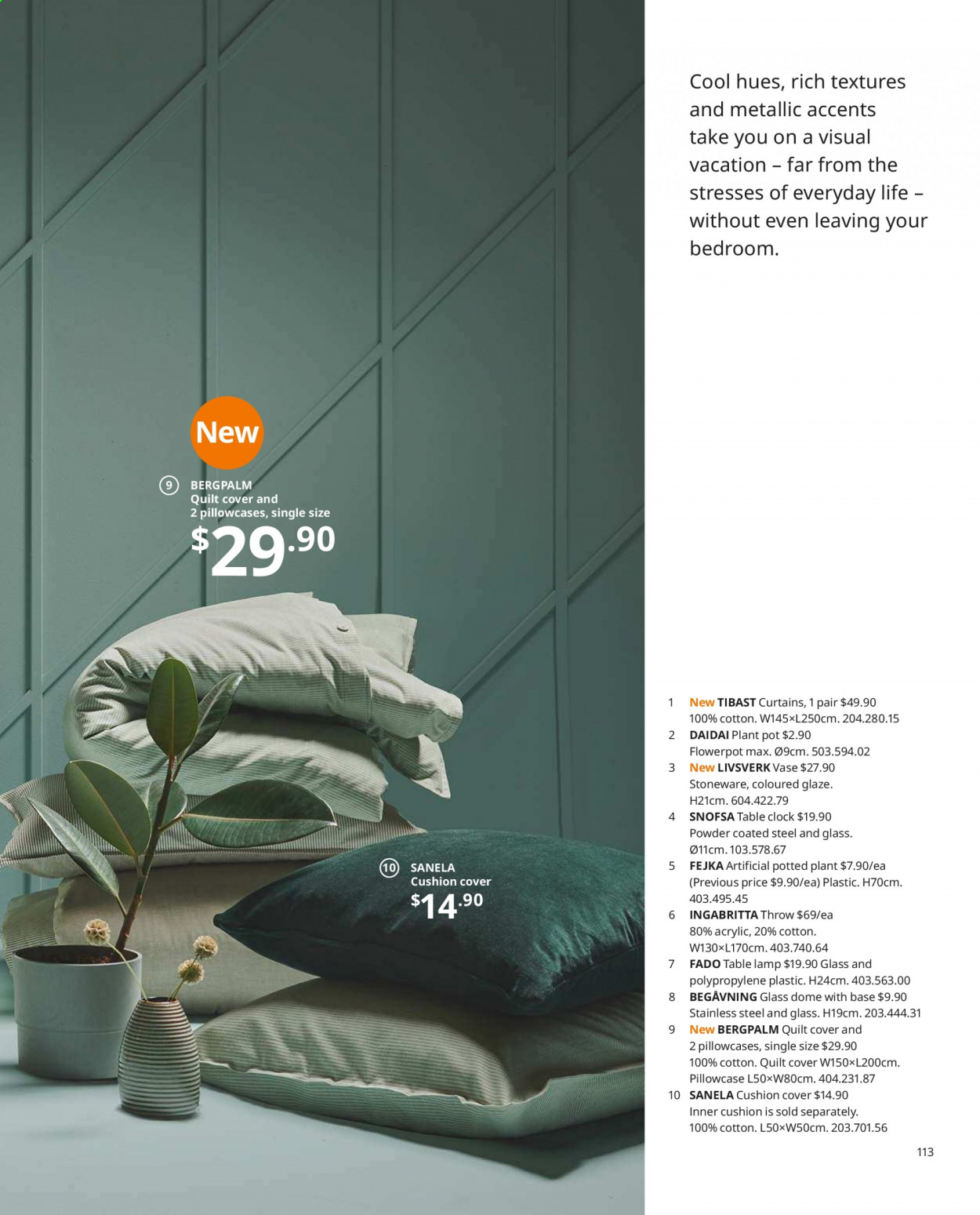 IKEA offer  - Sales products - clock, cushion, glass, lamp, table lamp, pillowcases, plant pot, pot, powder, quilt. Page 113.