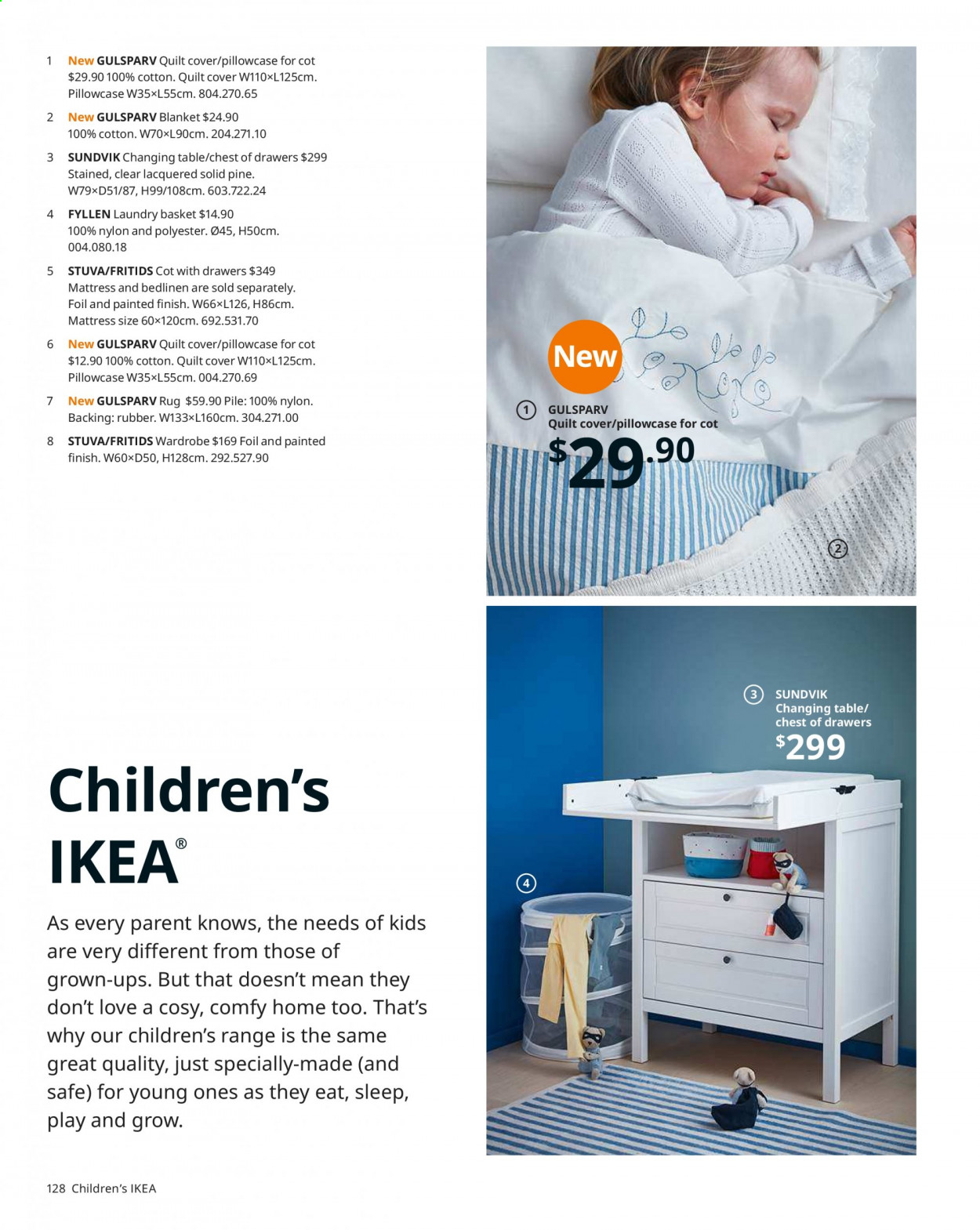 IKEA offer  - Sales products - basket, blanket, mattress, rug, table, wardrobe, pillowcases, quilt. Page 128.
