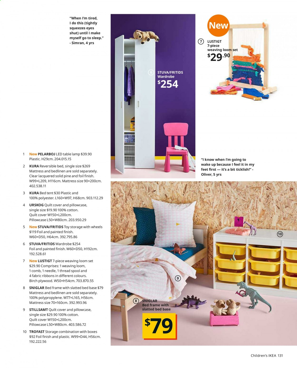 IKEA offer  - Sales products - always, bed, bed frame, box, lamp, mattress, table lamp, tent, wardrobe, pillowcases, plywood, quilt, toys. Page 131.