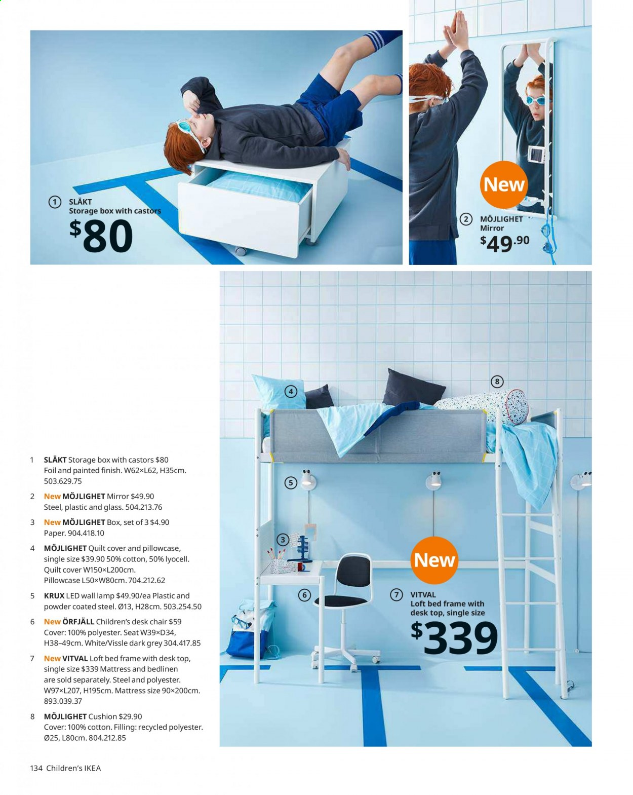 IKEA offer  - Sales products - bed, bed frame, cushion, glass, lamp, loft bed, mattress, mirror, wall lamp, chair, pillowcases, powder, quilt, storage box, paper, train. Page 134.