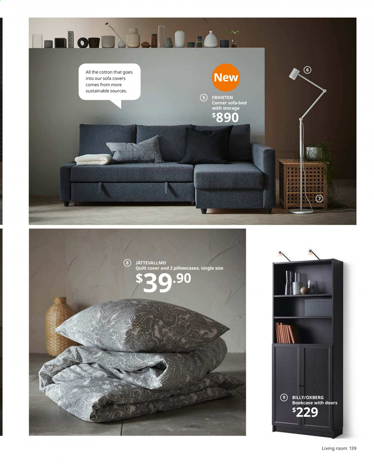 IKEA offer  - Sales products - bed, bookcase, corner sofa, cushion, door, lamp, mattress, reading lamp, sofa, table, pillowcases, powder, quilt. Page 139.