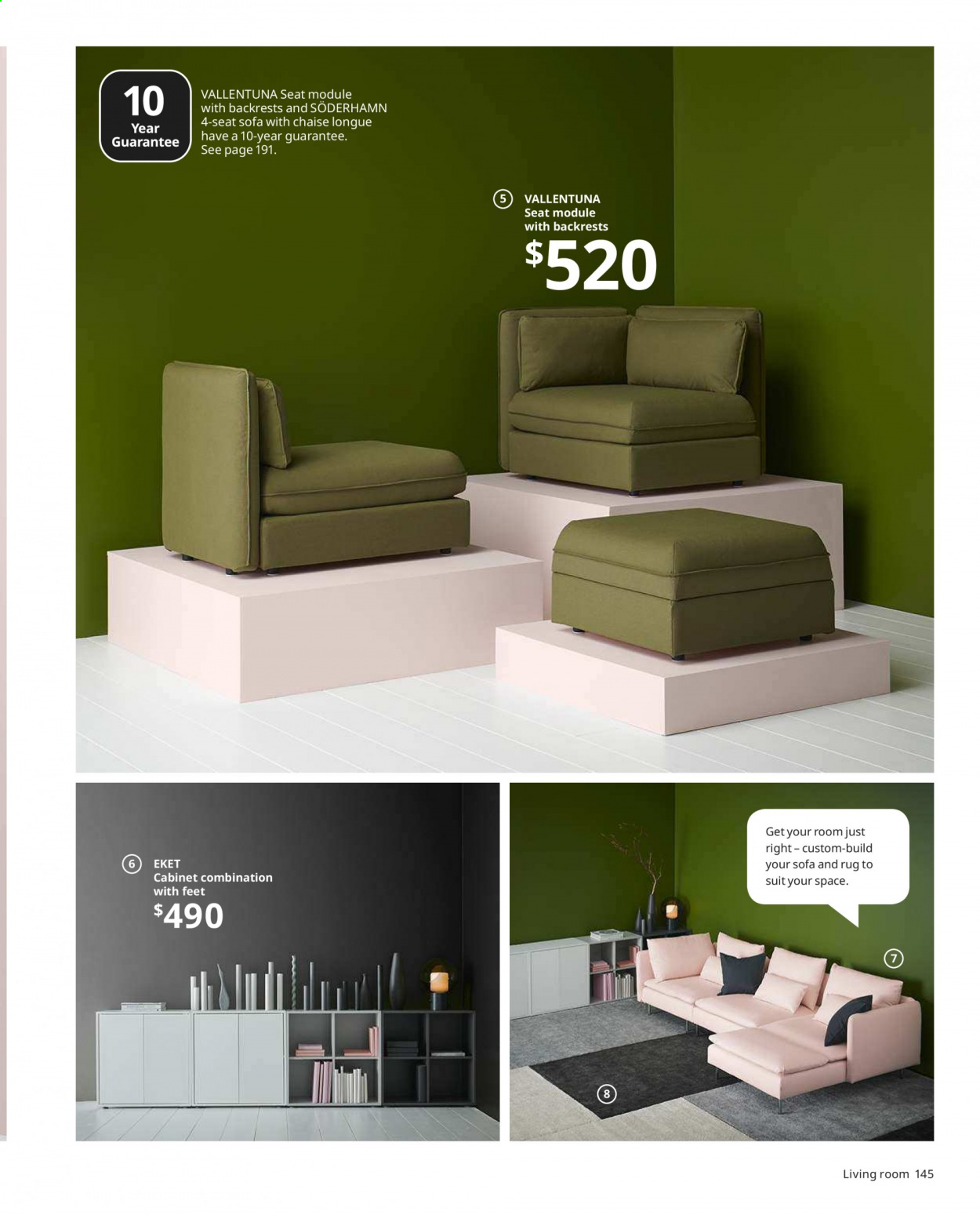 IKEA offer  - Sales products - basket, cabinet, rug, sofa, chaise. Page 145.