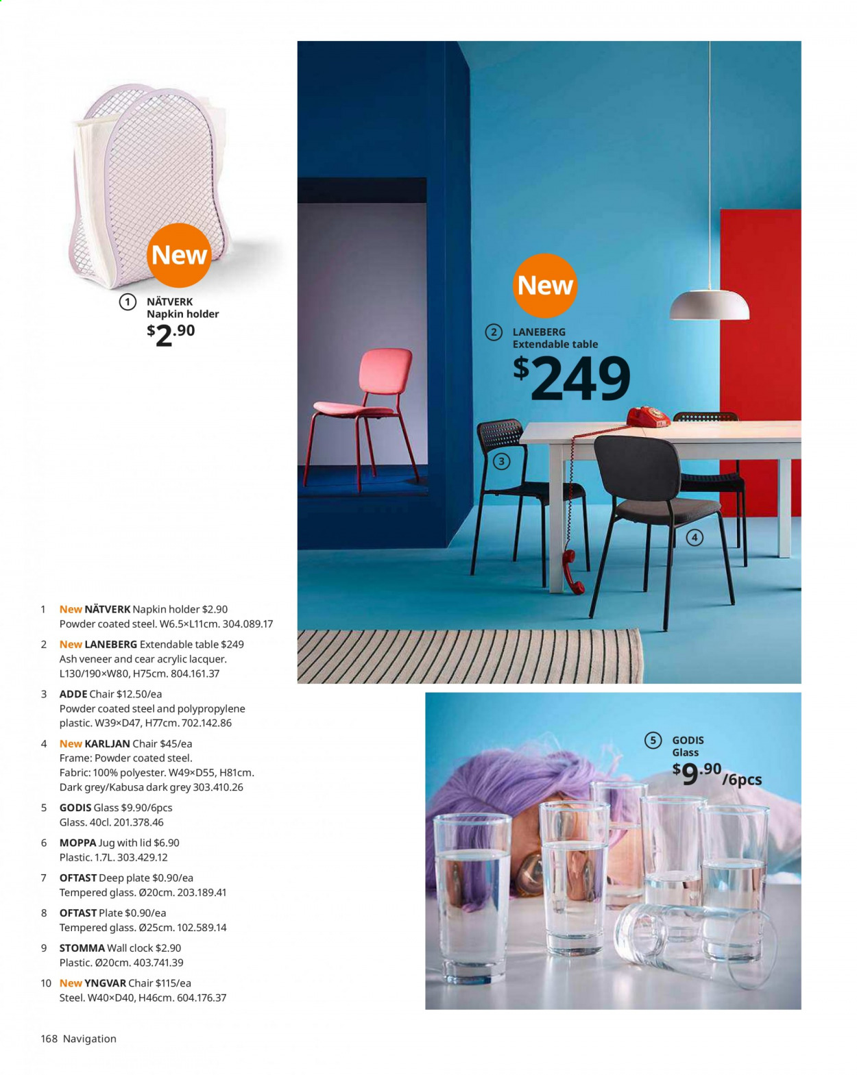 IKEA offer  - Sales products - clock, extendable table, glass, lid, table, Holder, chair, plate, powder. Page 168.