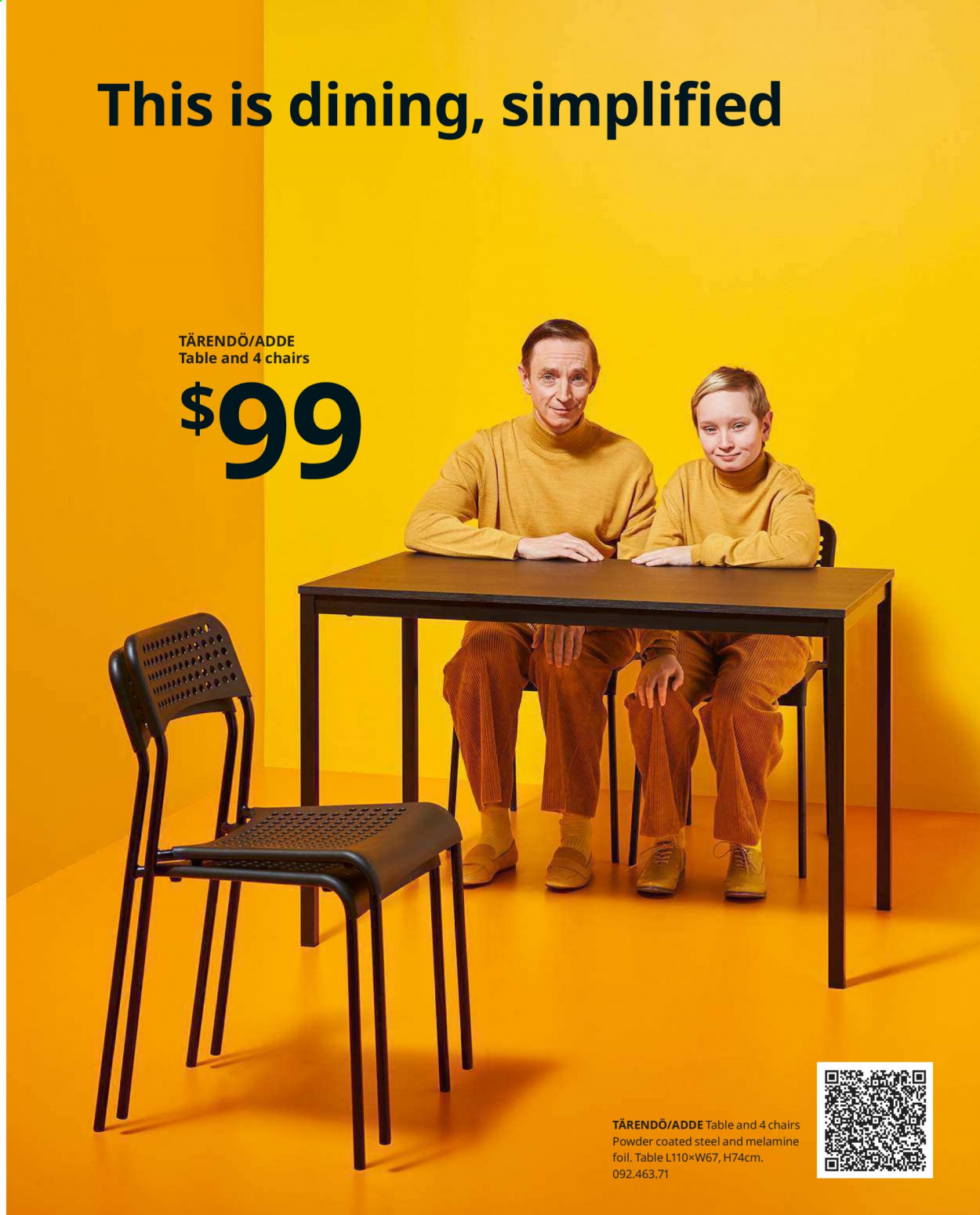 IKEA offer  - Sales products - extendable table, fork, knife, mug, spoon, table, chair, plate, powder, cutlery set. Page 173.
