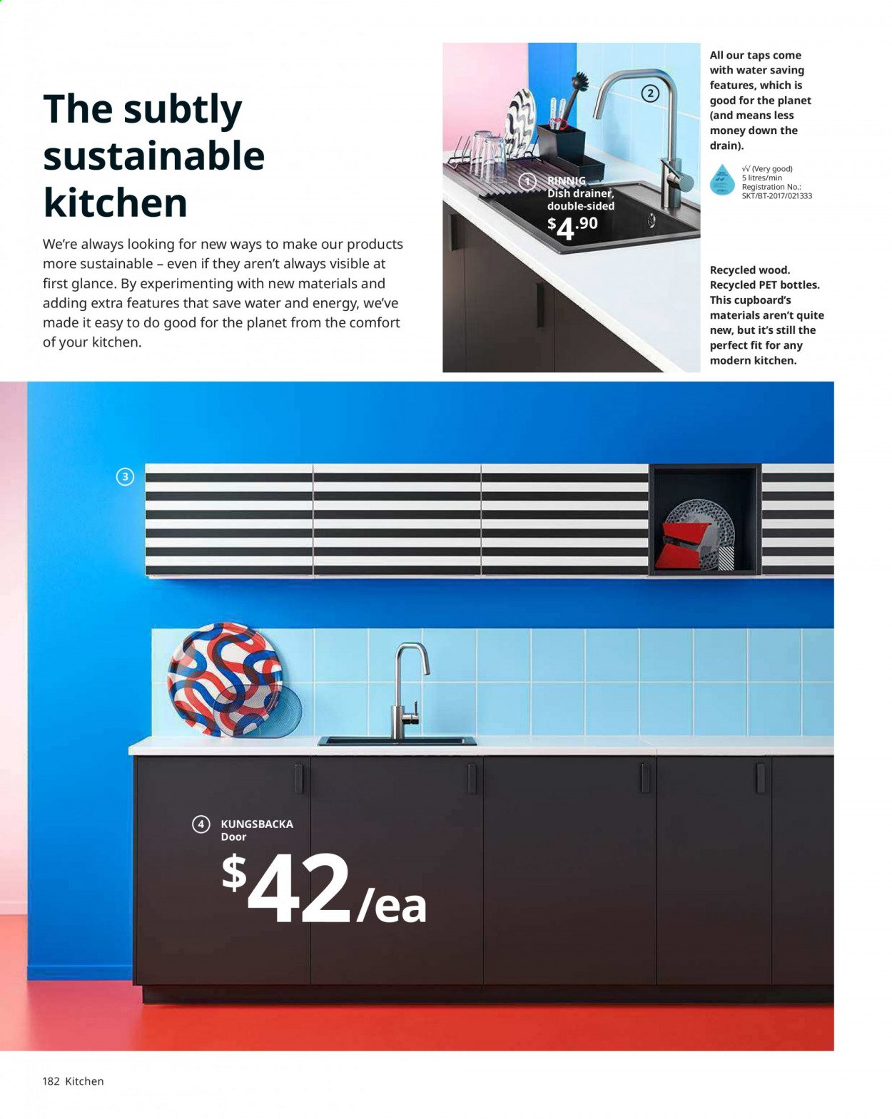 IKEA offer  - Sales products - always, door, glass, lid, mixer, tea, Kitchen, plate, paper. Page 182.