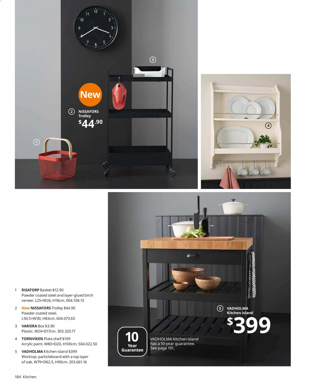 IKEA offer  - Sales products - basket, box, shelf, Kitchen, plate, powder, trolley. Page 184.