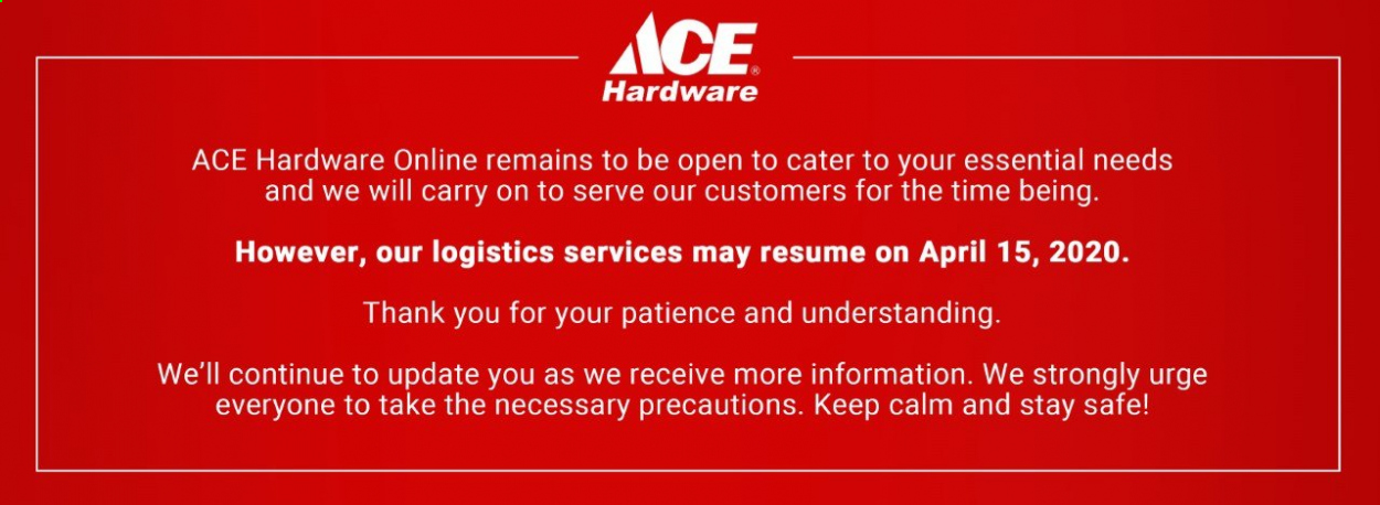 ACE Hardware offer  - 17.3.2020 - 15.4.2020. Page 1.