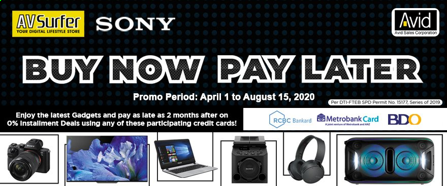 Avid offer  - 1.4.2020 - 15.8.2020 - Sales products - Sony. Page 1.