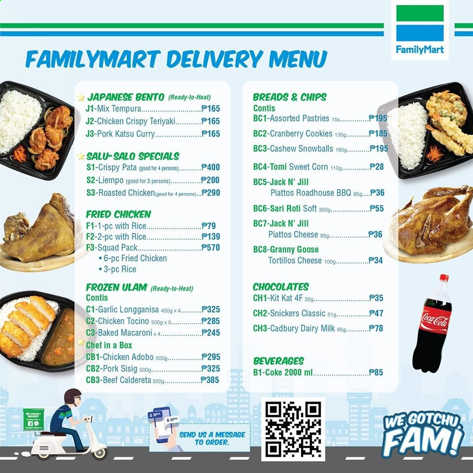 FamilyMart offer  - Sales products - fried chicken, milk, cookies, Snickers, KitKat, Cadbury Dairy Milk, chips, corn, cranberries, teriyaki sauce, Coca-Cola, teriyaki. Page 1.