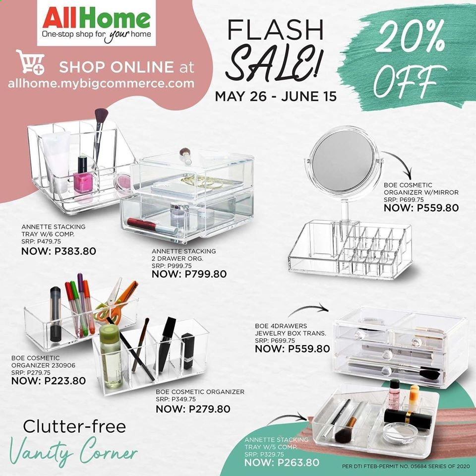 AllHome offer  - Sales products - tray, vanity, jewelry box, mirror. Page 1.