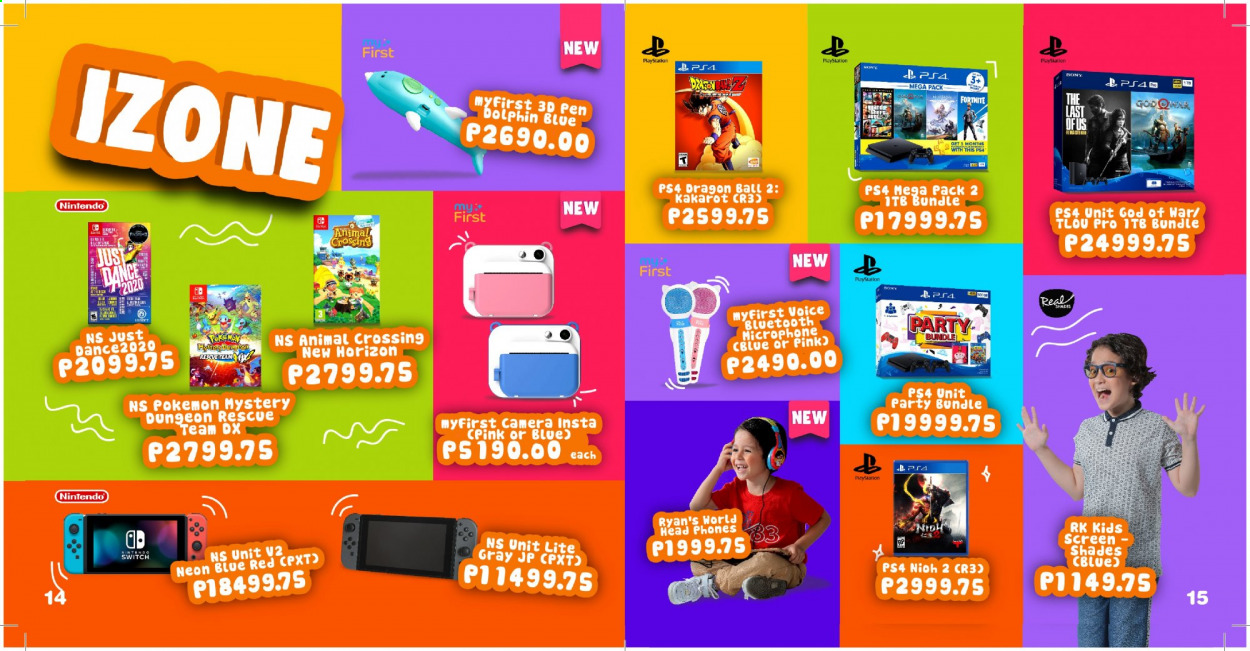 Toy Kingdom offer  - Sales products - Sony, pen, phone, microphone, headphones, Pokémon, ball, PlayStation 4. Page 8.