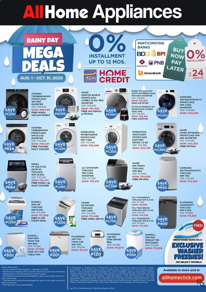 AllHome offer  - 1.8.2020 - 31.10.2020 - Sales products - LG, electric dryer, frypan, Samsung, TCL, Haier, Nikon, Sharp, Toshiba, Whirlpool, Midea, washing machine, fan, vacuum cleaner, multi cooker, air fryer, robot, steam iron. Page 1.