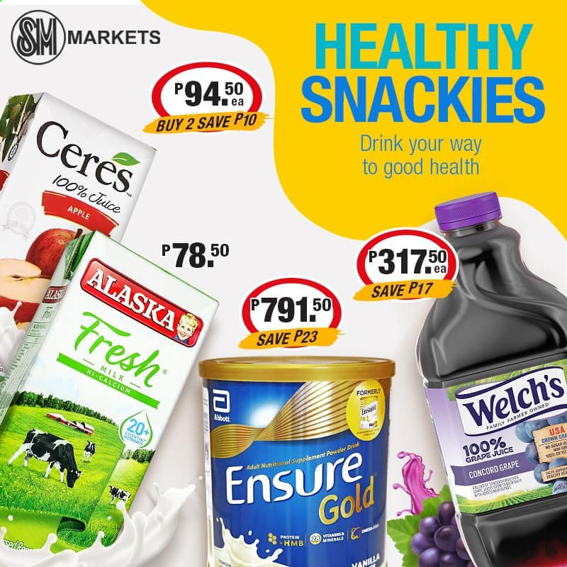 SM MARKETS offer  - Sales products - Welch's, milk, juice, Cerés, Apple, calcium, nutritional supplement. Page 4.