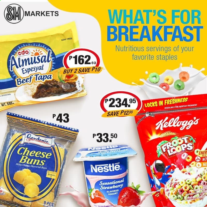 SM MARKETS offer  - Sales products - cheese, yoghurt, Nestlé, Kellogg's. Page 7.