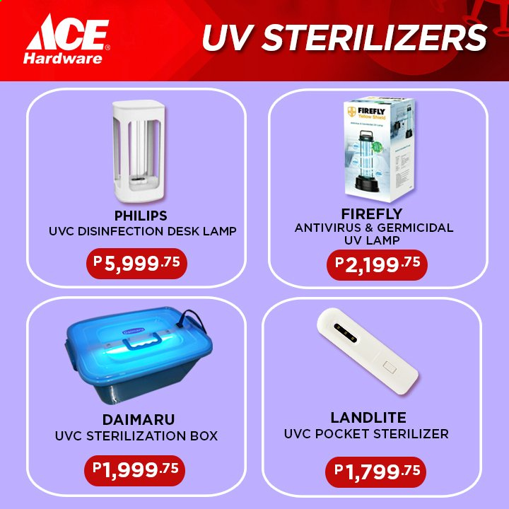 ACE Hardware offer  - Sales products - box, lamp, shield, Philips. Page 8.