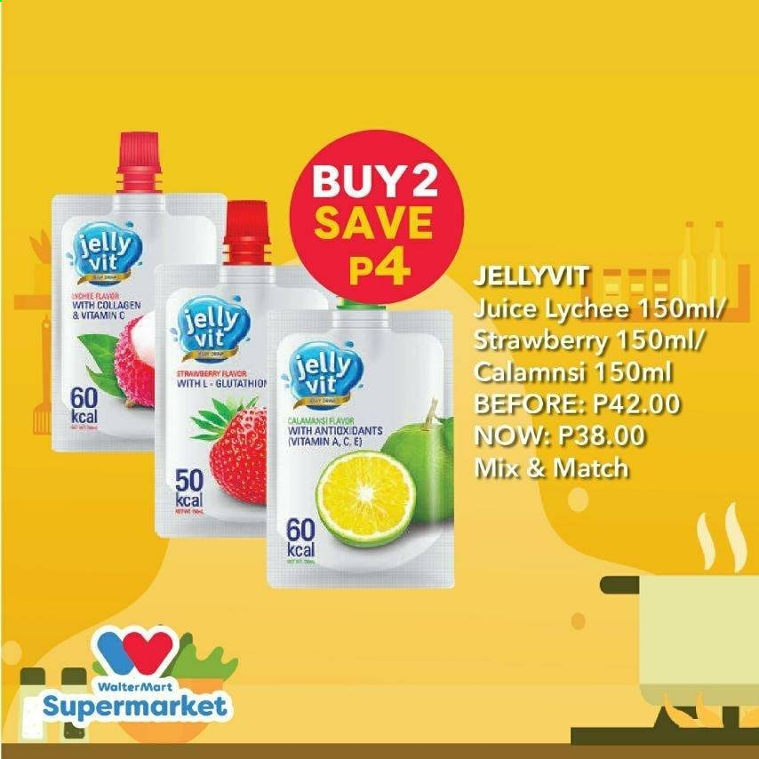 Walter Mart offer  - Sales products - lychee, juice, strawberry, jelly. Page 3.
