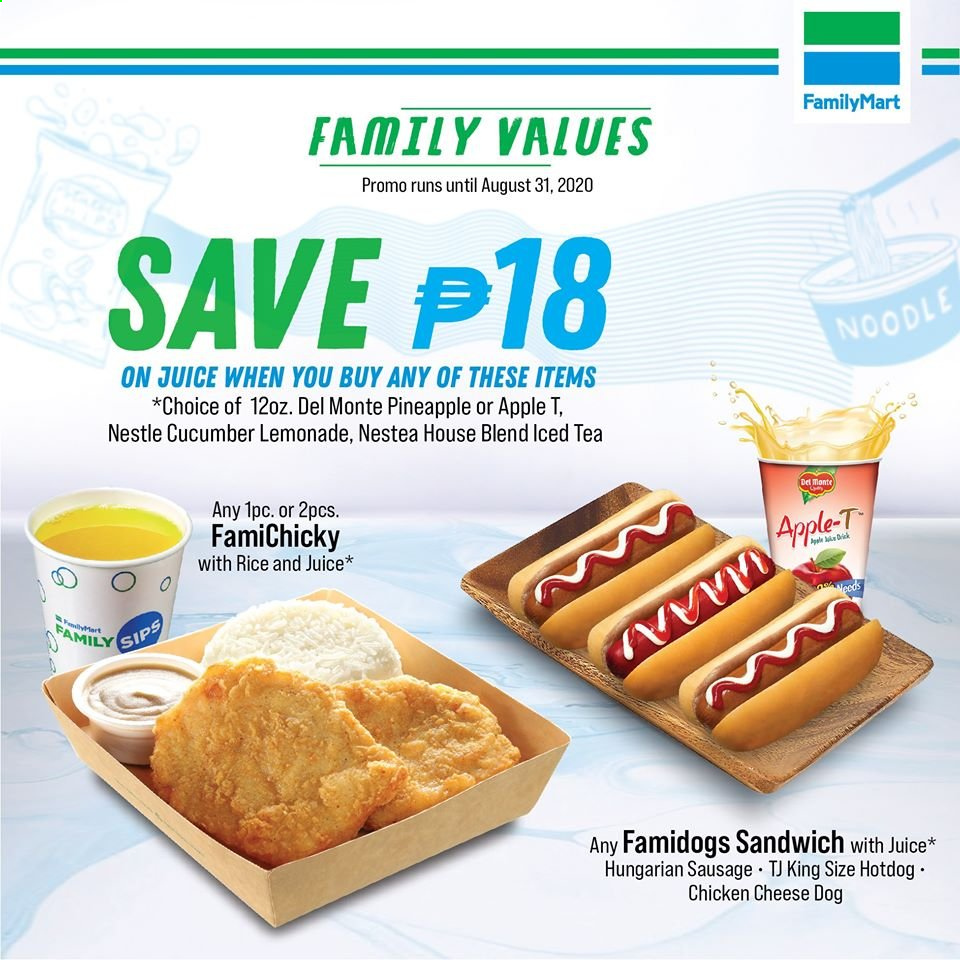 FamilyMart offer  - Sales products - Apple, cucumbers, lemonade, Nestlé, sausage, tea, pineapple, chicken, noodle, cheese, juice, sandwich, apples. Page 1.