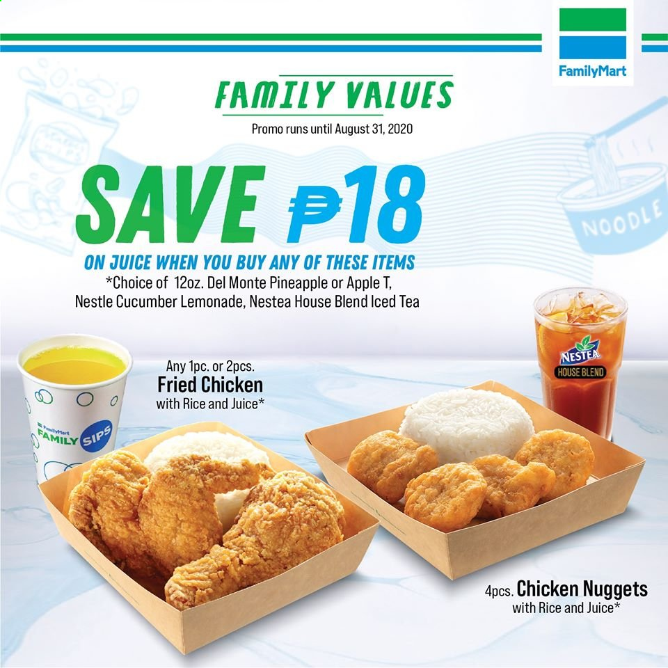 FamilyMart offer  - Sales products - Apple, cucumbers, lemonade, Nestlé, tea, pineapple, chicken, noodle, juice, nuggets, fried chicken, apples. Page 3.