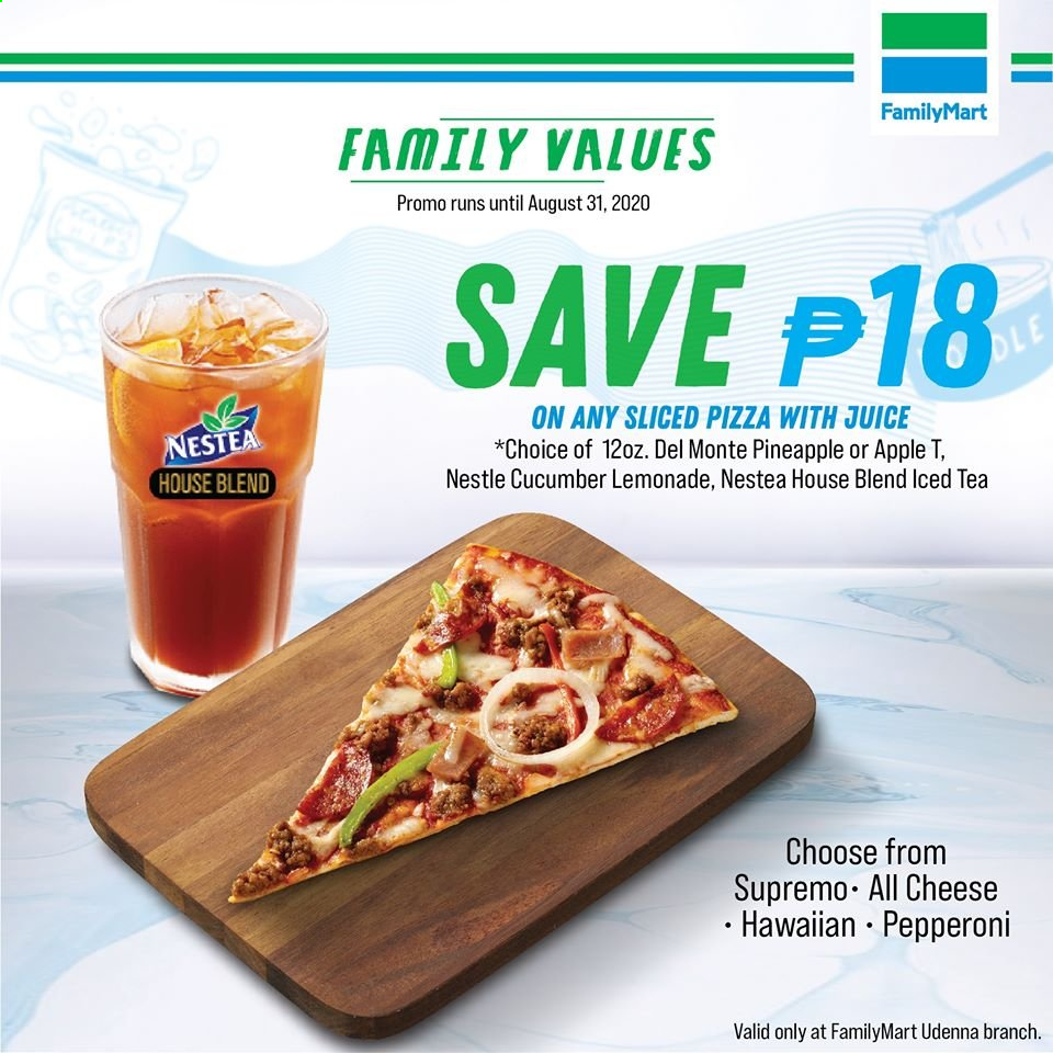 FamilyMart offer  - Sales products - Apple, cucumbers, lemonade, Nestlé, tea, pineapple, pizza, pepperoni, cheese, juice, apples. Page 9.