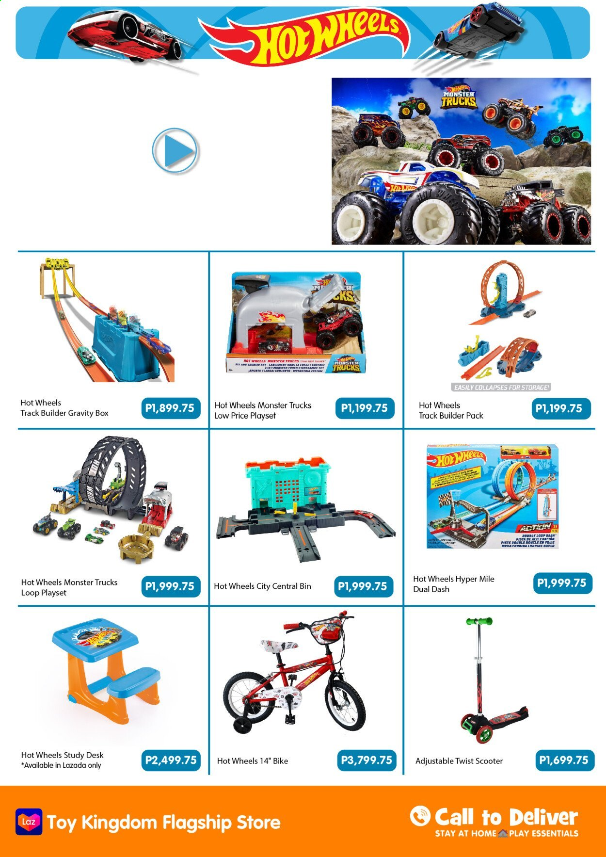 Toy Kingdom offer  - Sales products - bike, play set, toys, Hot Wheels, study desk. Page 14.