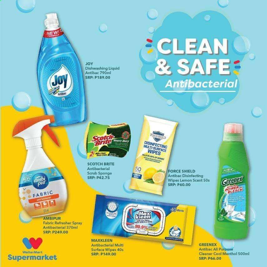 Walter Mart offer  - Sales products - refresher, safe, shield, spray, wipes, sponge, dishwashing liquid, cool, cleaner, liquid, bleach, lemon, all purpose cleaner, heavy duty. Page 10.