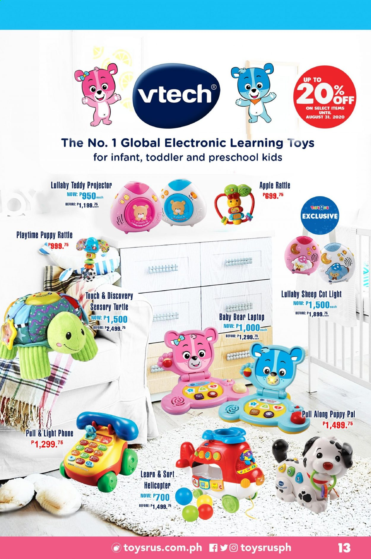 "Toys""R""Us offer  - Sales products - rattle, vtech, toys, helicopter. Page 13."