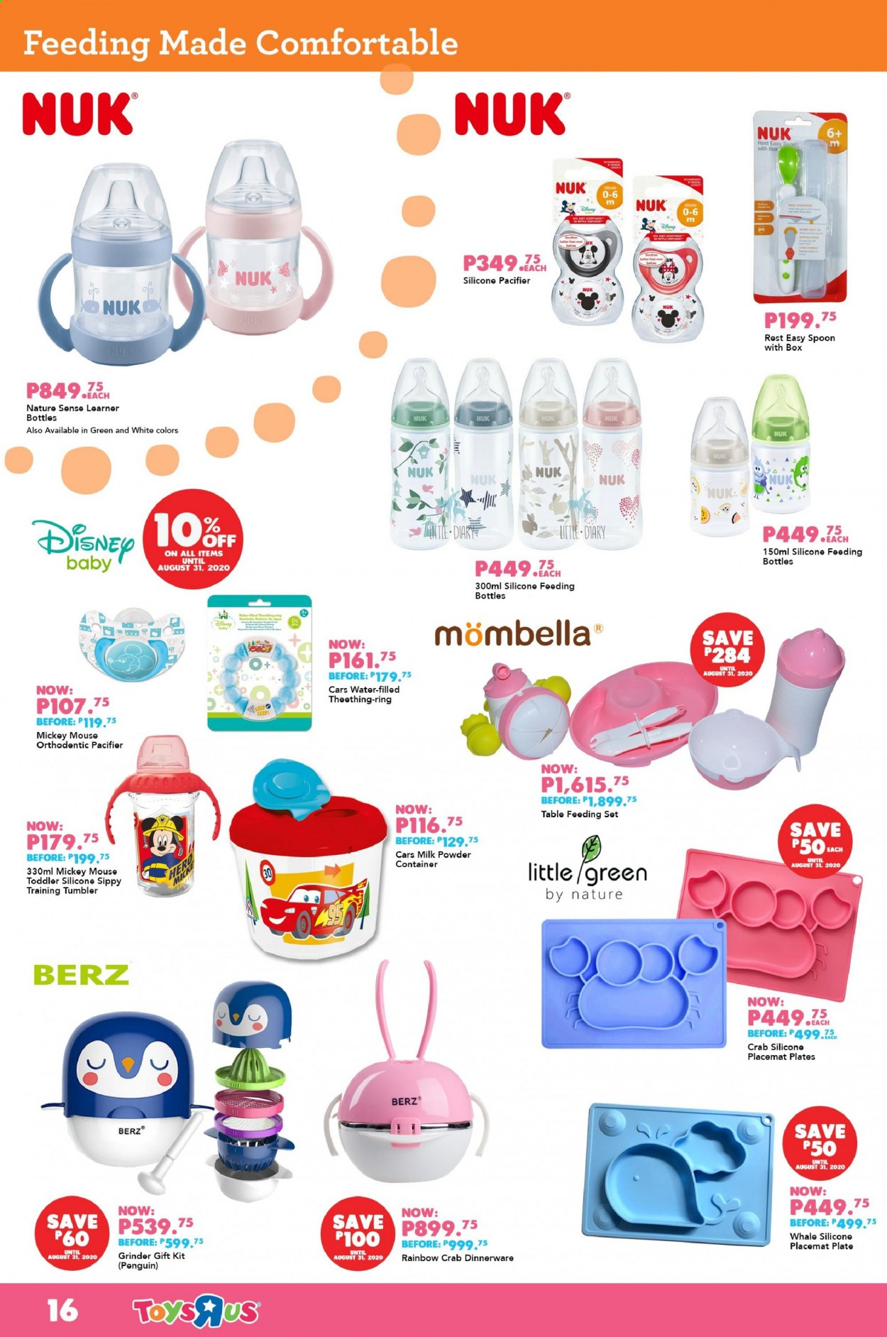 "Toys""R""Us offer  - Sales products - Disney, Cars, Mickey Mouse, mouse, penguin, Nuk. Page 16."