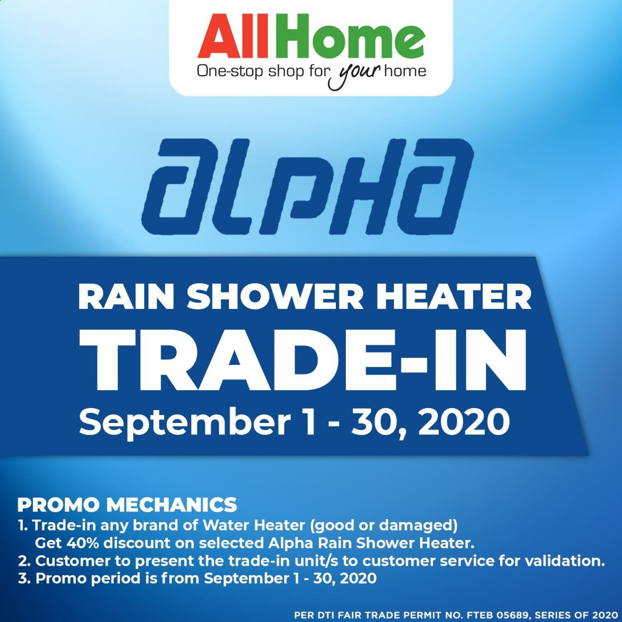 AllHome offer  - 1.9.2020 - 30.9.2020 - Sales products - water heater. Page 1.