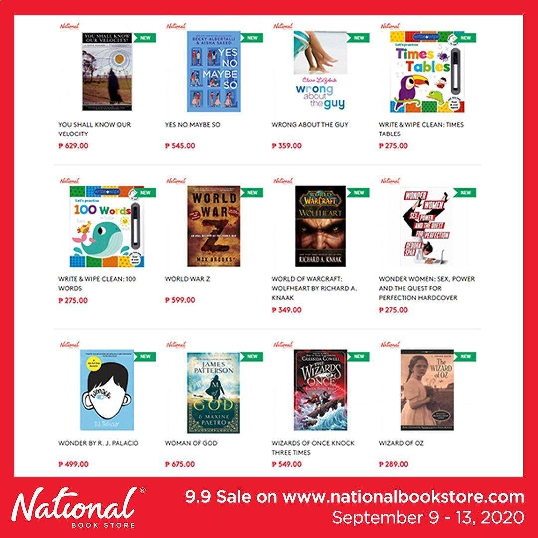 National Book Store offer  - 9.9.2020 - 13.9.2020 - Sales products - book. Page 1.