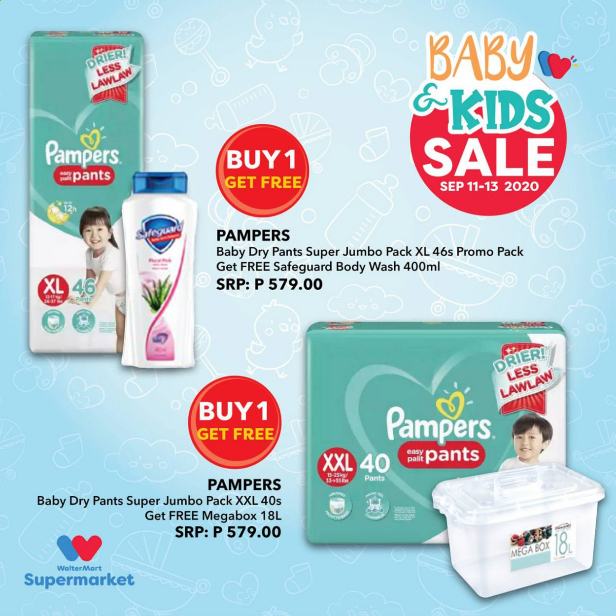 Walter Mart offer  - Sales products - body wash, box, pampers, pants. Page 2.
