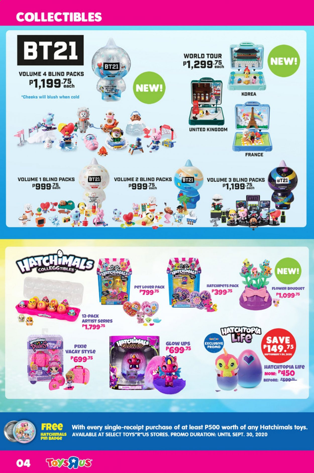 "Toys""R""Us offer  - 1.9.2020 - 30.9.2020 - Sales products - toys, hatchimals, pin. Page 4."