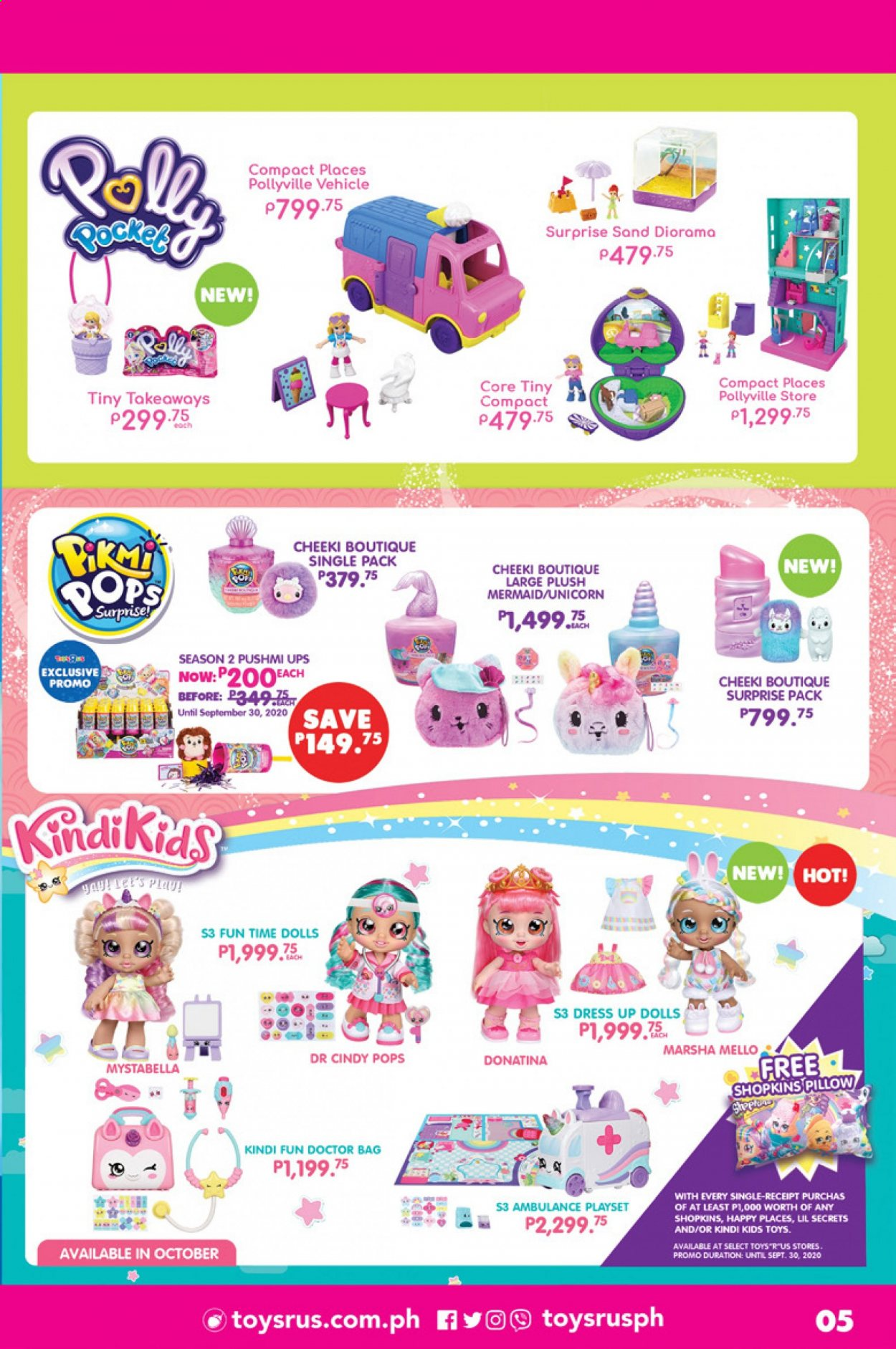 "Toys""R""Us offer  - 1.9.2020 - 30.9.2020 - Sales products - dress, doll, play set, toys, vehicle, shopkins. Page 5."