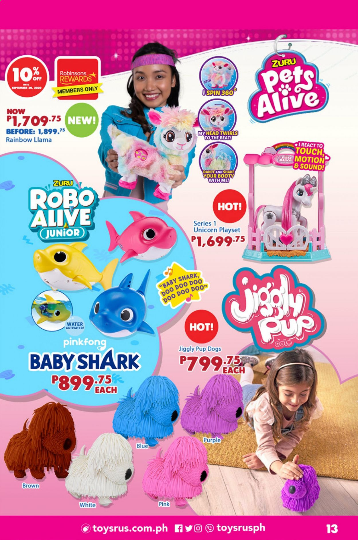 "Toys""R""Us offer  - 1.9.2020 - 30.9.2020 - Sales products - play set, Zuru, robo alive. Page 13."