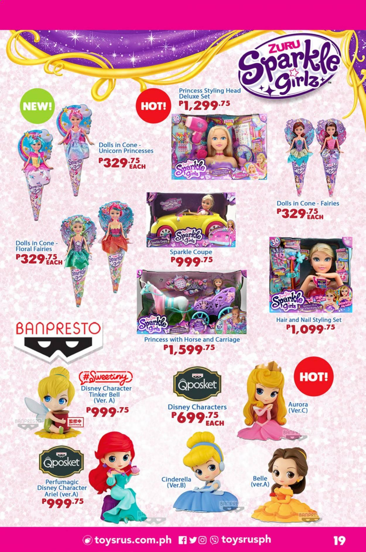 "Toys""R""Us offer  - 1.9.2020 - 30.9.2020 - Sales products - Disney, doll, styling head, Zuru, princess. Page 19."