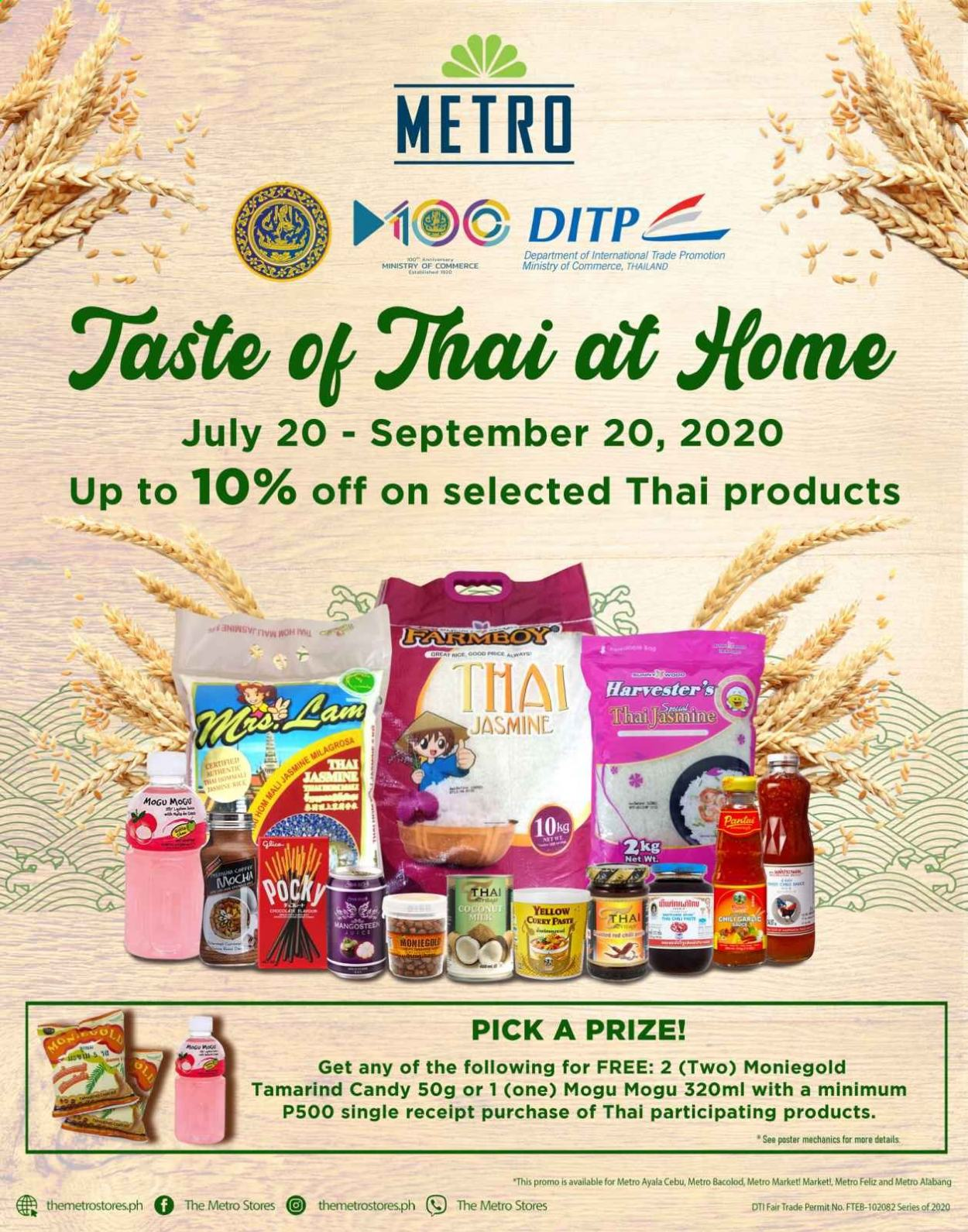 Metro offer  - 20.7.2020 - 20.9.2020 - Sales products - coconut, candy, rice. Page 1.