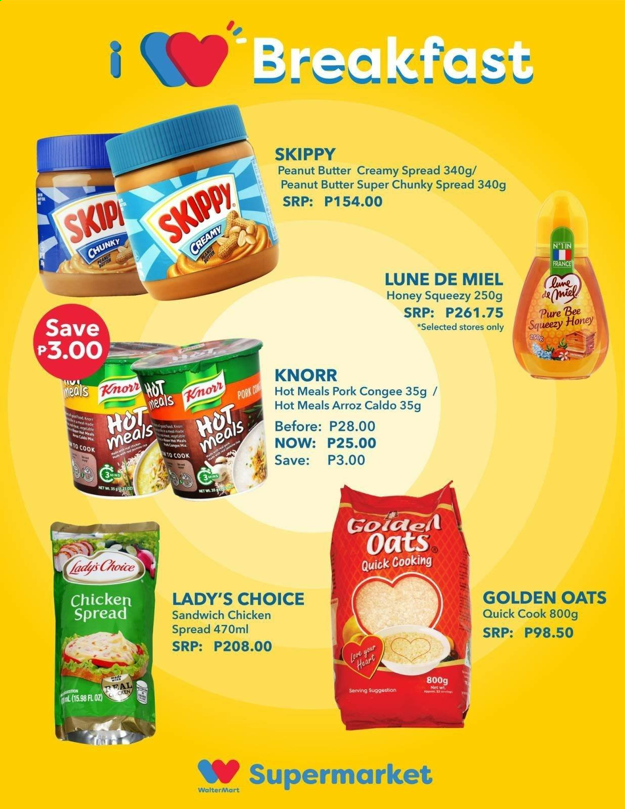 Walter Mart offer  - 21.9.2020 - 27.9.2020 - Sales products - honey, pork meat, chicken, peanut butter, oats, sandwich, knorr. Page 4.
