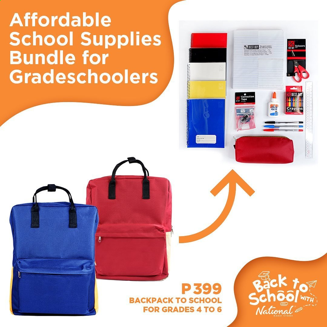 National Book Store offer  - Sales products - backpack, bundle, tape. Page 1.