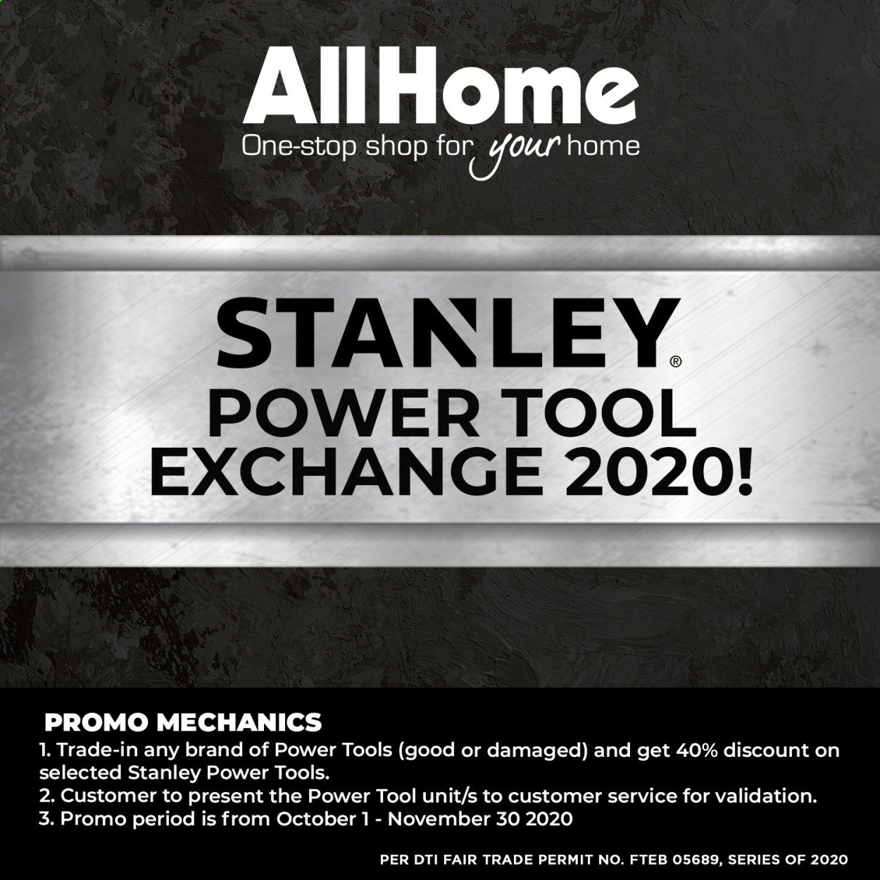 AllHome offer  - 1.10.2020 - 30.11.2020 - Sales products - Stanley, power tools. Page 1.