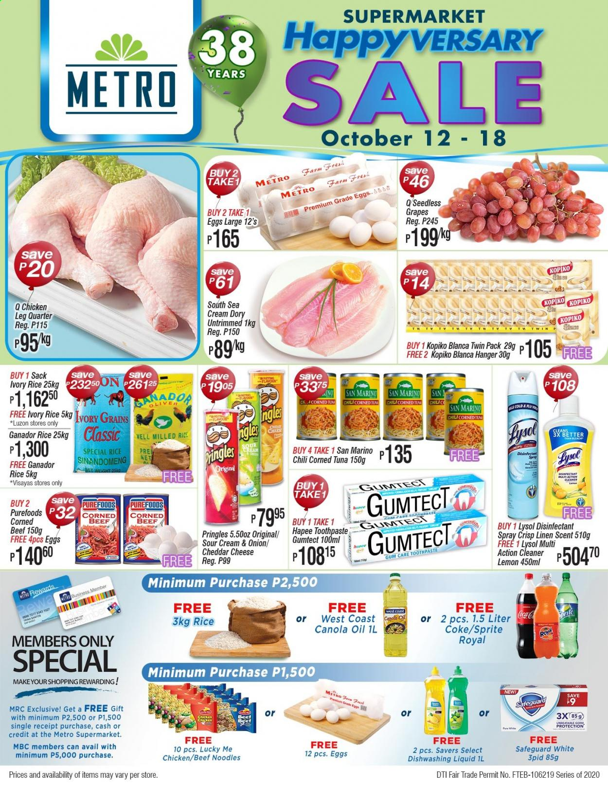 Metro offer  - 12.10.2020 - 18.10.2020 - Sales products - beef meat, canola oil, coca-cola, corned beef, cream, eggs, cold & flu, grapes, lysol, rice, seedless grapes, sour cream, spray, sprite, tuna, pringles, cheddar, chicken, onion, cheese, noodles, toothpaste, gum, dishwashing liquid, hanger, cleaner, liquid, lemon, metro. Page 1.