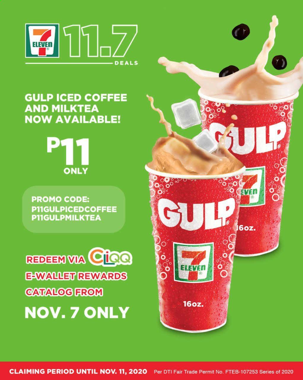 7 Eleven offer  - 7.11.2020 - 7.11.2020 - Sales products - gul, wallet, iced coffee. Page 1.