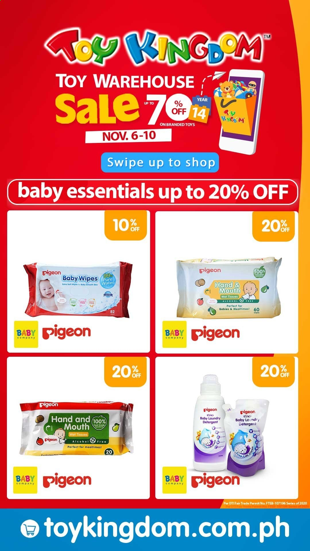Toy Kingdom offer  - 6.11.2020 - 10.11.2020 - Sales products - baby wipes, Pigeon, bag, toys, laundry detergent. Page 1.