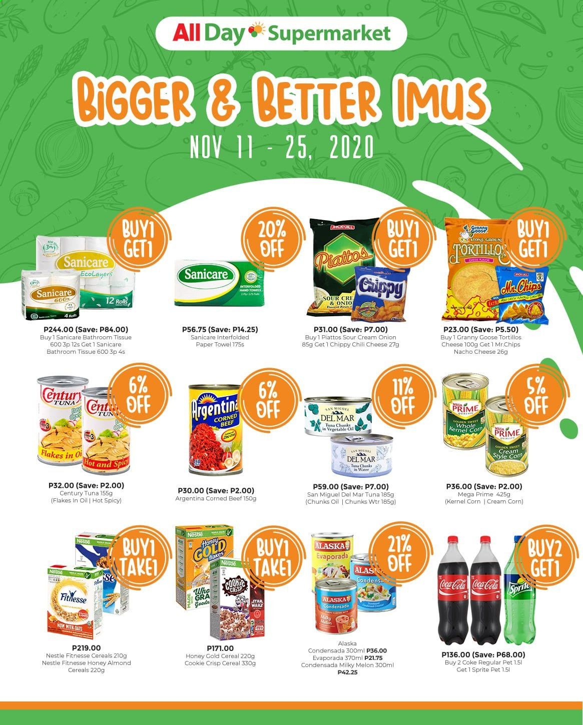 AllDay Supermarket offer  - 11.11.2020 - 25.11.2020 - Sales products - rolls, corn, onion, melons, tuna, cheese, sour cream, Nestlé, chips, oats, cereals, vegetable oil, honey, almonds, Coca-Cola, Sprite, San Miguel, goose, corned beef, bath tissue, tissues, paper towels, Sanicare. Page 1.