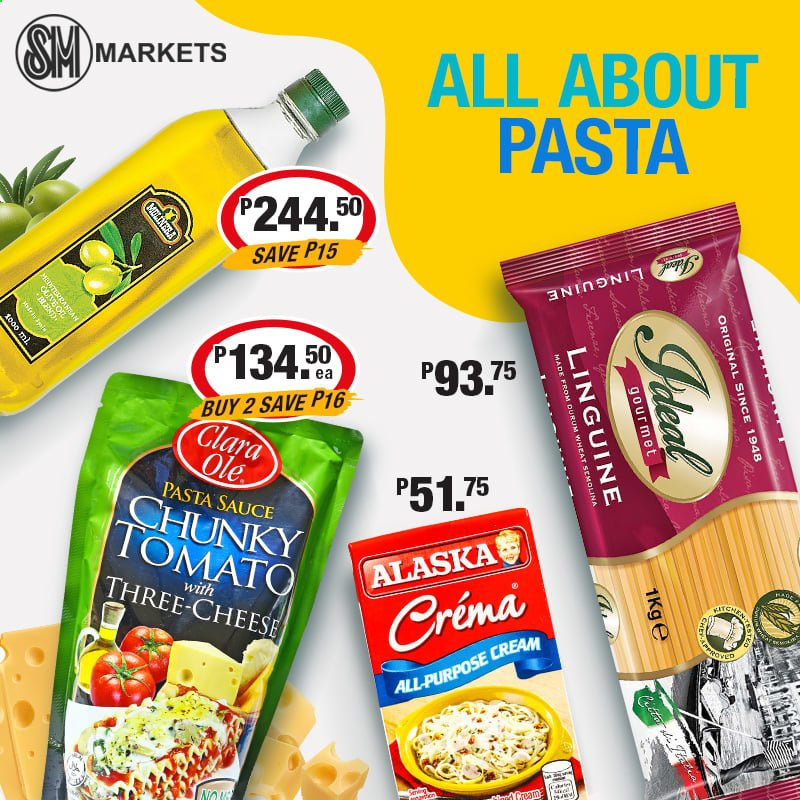 SM MARKETS offer  - Sales products - sauce, cheese, semolina, pasta sauce. Page 1.