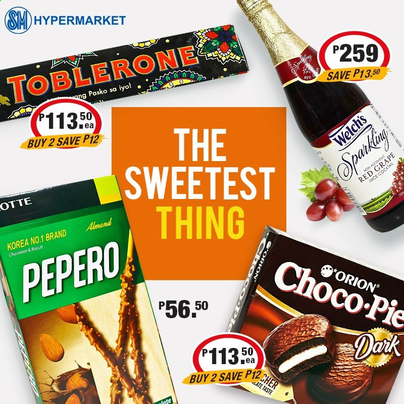 SM MARKETS offer  - Sales products - Welch's, biscuit, Toblerone, almonds, juice. Page 6.
