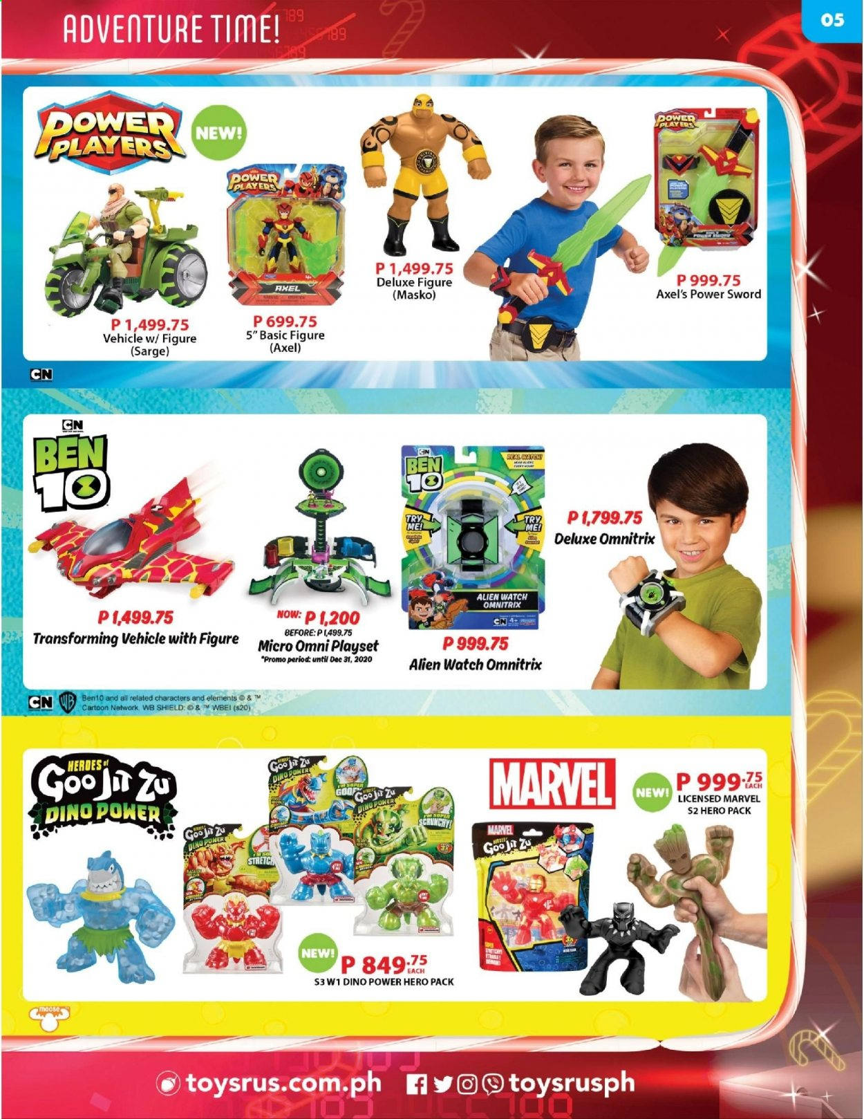 "Toys""R""Us offer  - 10.12.2020 - 31.12.2020 - Sales products - Marvel, play set, vehicle, Ben 10. Page 5."