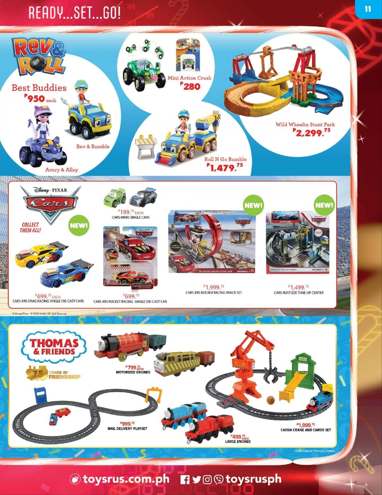 "Toys""R""Us offer  - 10.12.2020 - 31.12.2020 - Sales products - Disney, Cars, Mattel, rocket, play set. Page 11."
