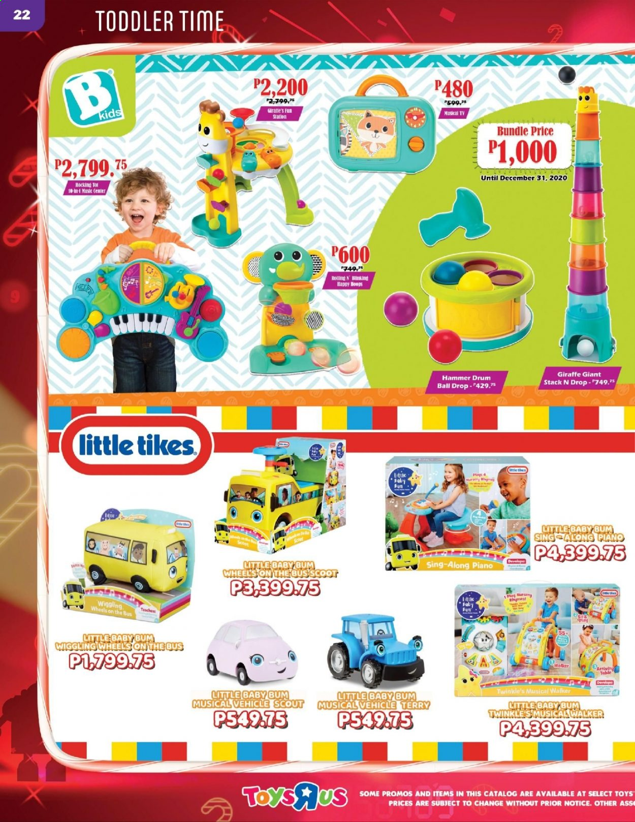 "Toys""R""Us offer  - 10.12.2020 - 31.12.2020 - Sales products - ball, toys, vehicle, Little Tikes. Page 22."